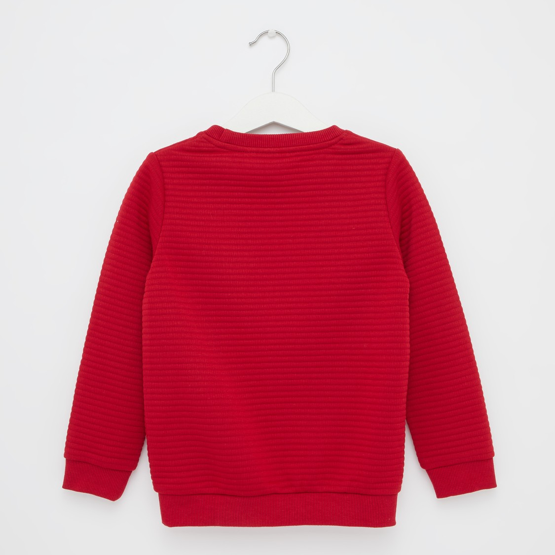 Spider-Man Embossed Print Sweatshirt with Round Neck and Long Sleeves