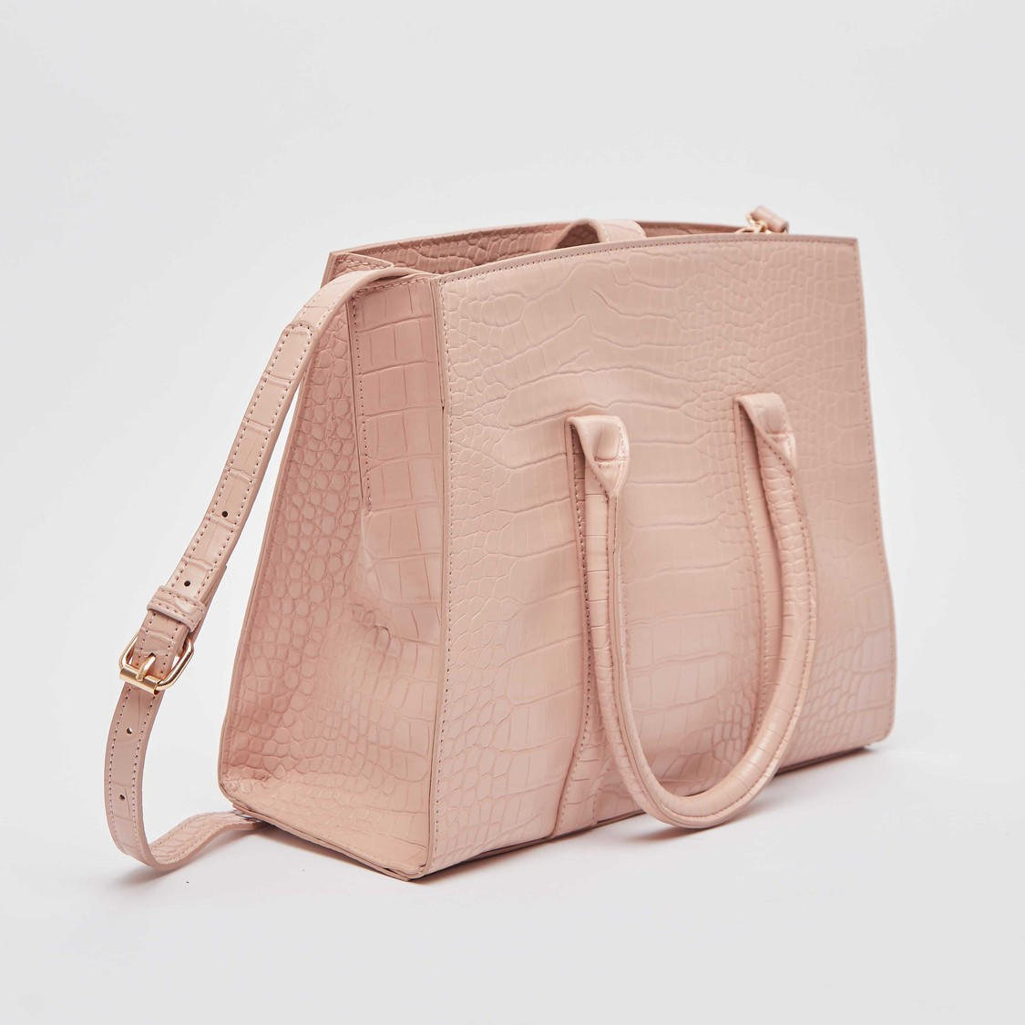 Textured Tote Bag with Short Handles and Detachable Sling Straps