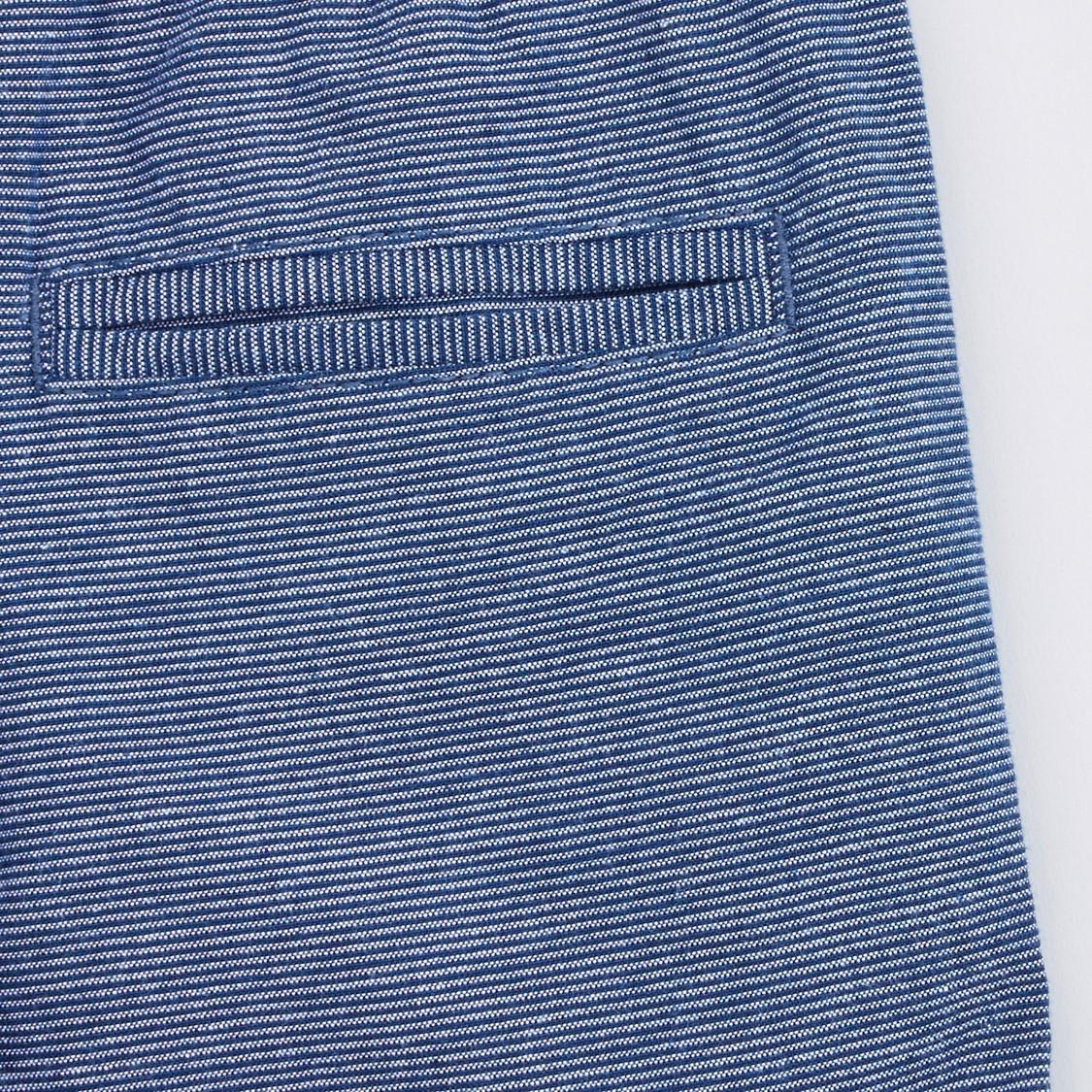 Jacquard Striped Shorts with Drawstring