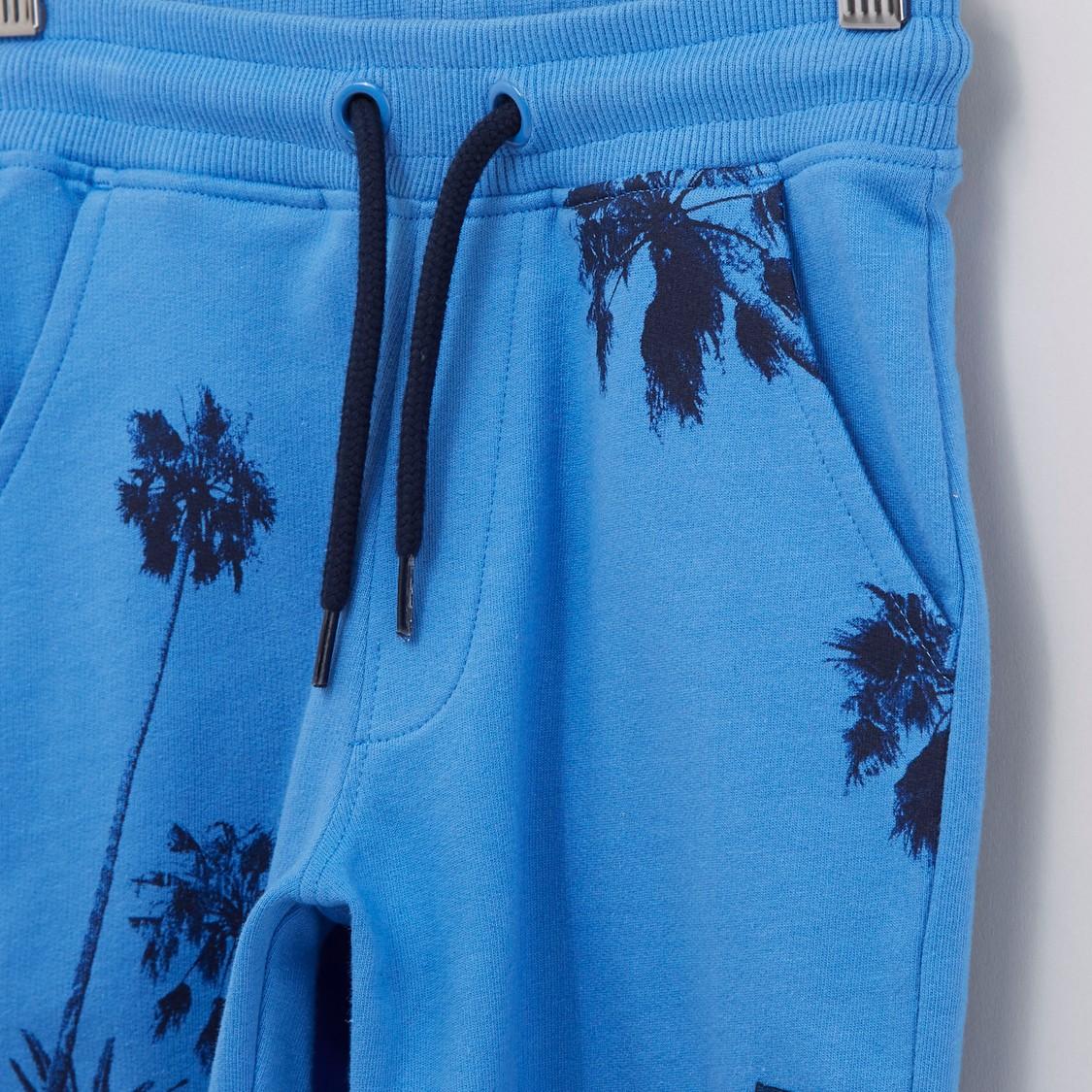 Printed Shorts with Drawstring Closure and Pocket Detail