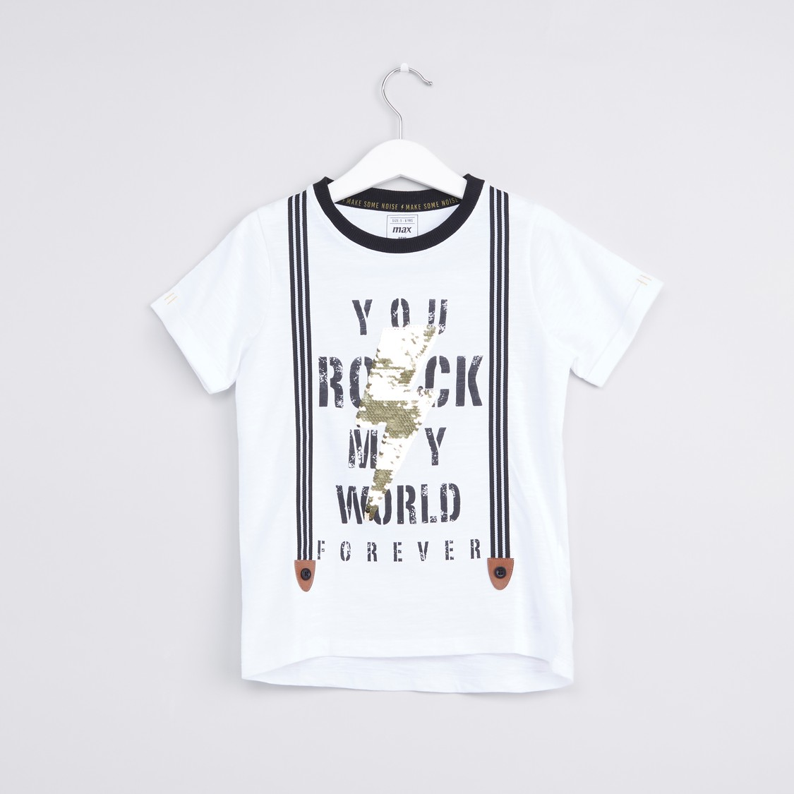 Embellished Typographic Print Round Neck T-shirt with Long Sleeves