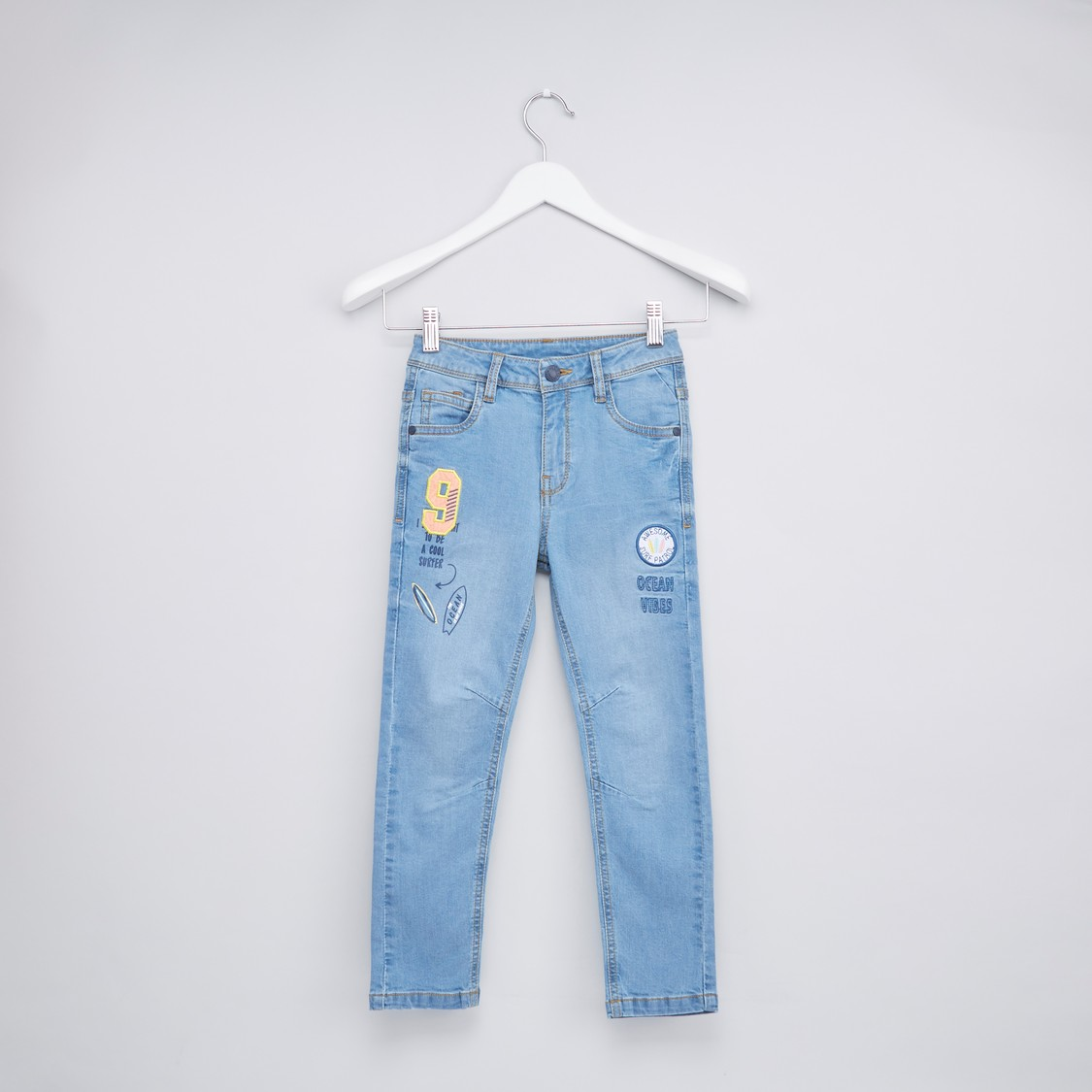 Embroidered Denim Pants with 5-Pockets and Button Closure