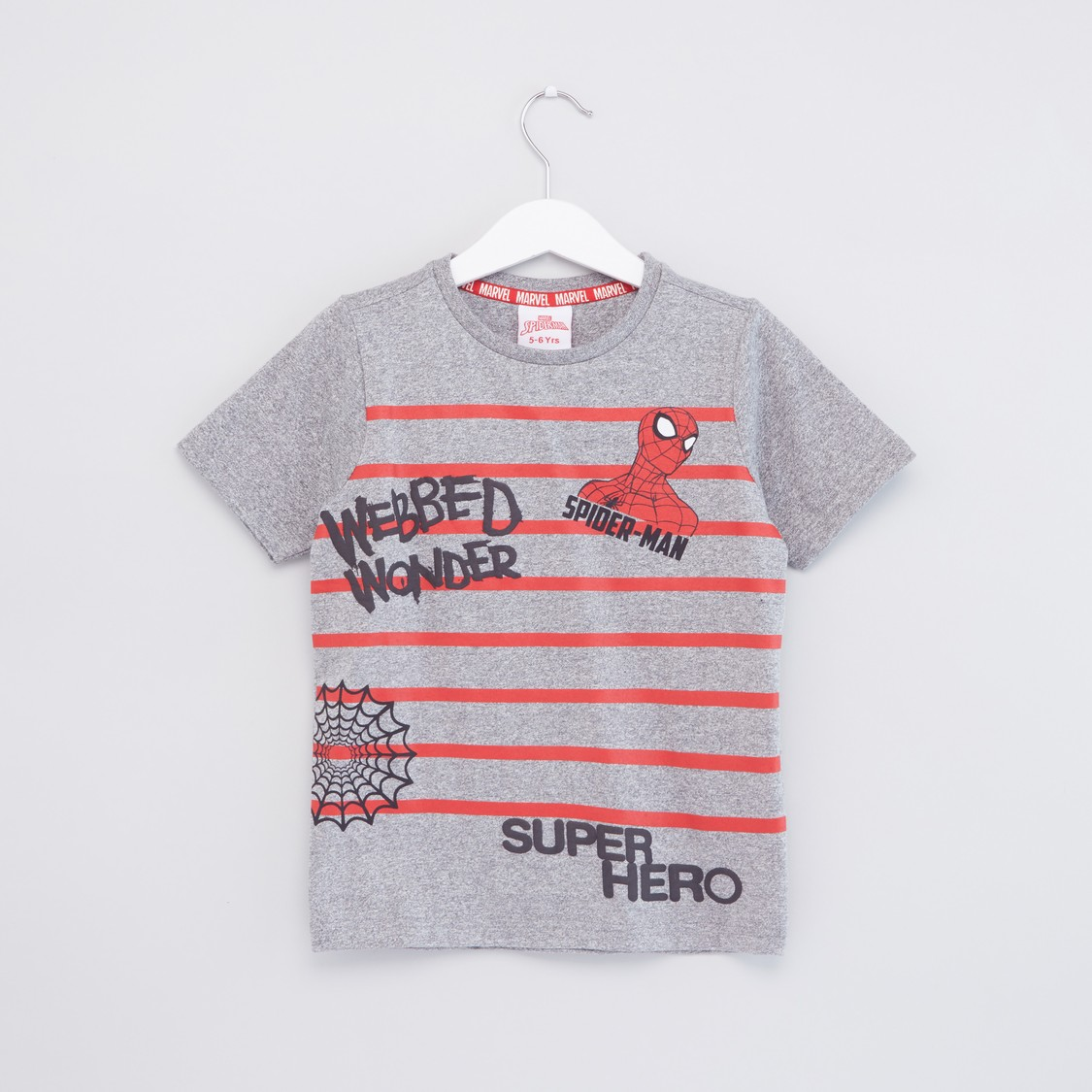 Spider-Man Printed T-shirt with Embossed Detail and Short Sleeves