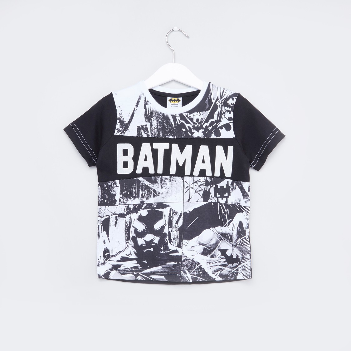 Batman Printed T-shirt with Short Sleeves
