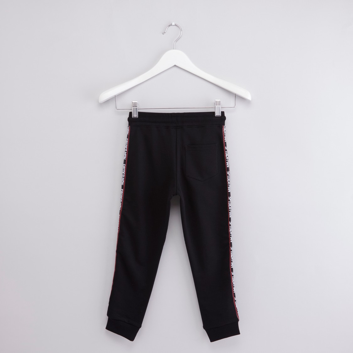 Spider-Man Printed Jog Pants with Drawstring and Pocket Detail