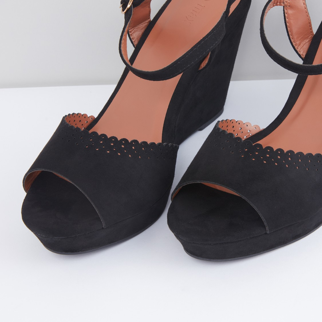 Ankle Strap Sandals with Wedge Heels and Cutwork Detail