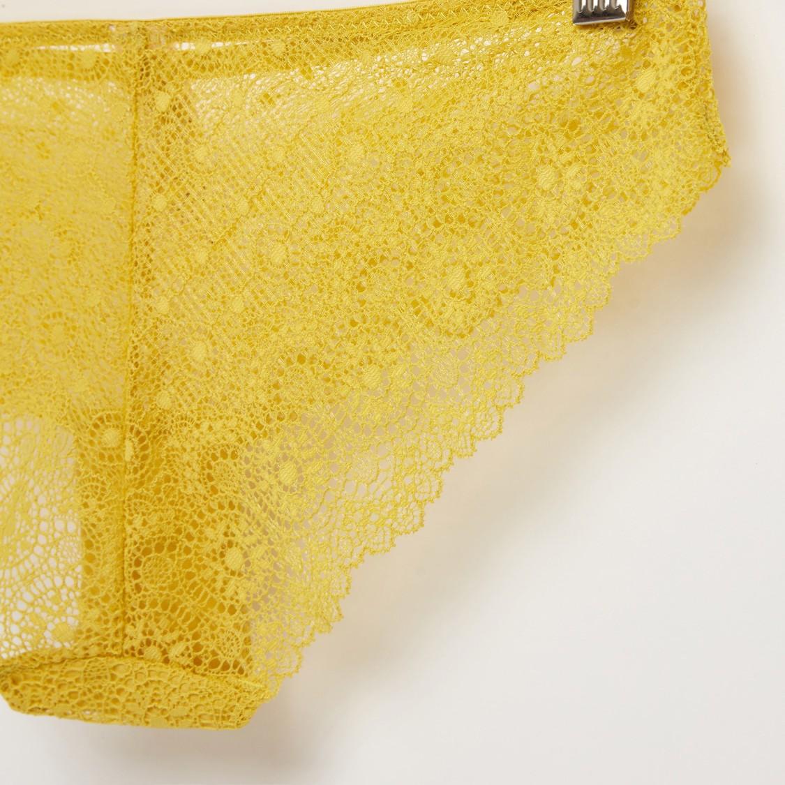 سروال داخلي برازيليان دانتيل بخصر مطاطي