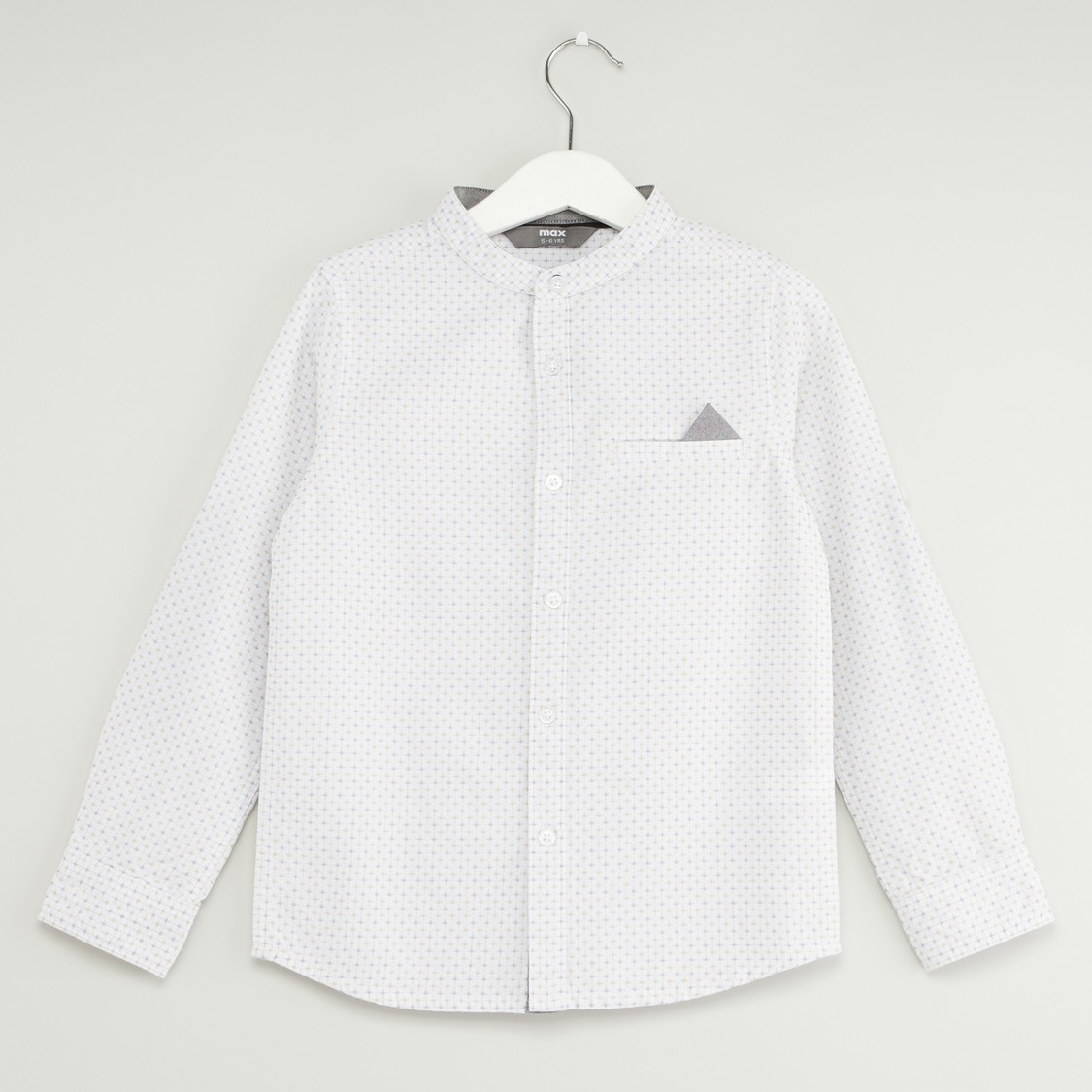 Printed Button-Down Shirt with Mandarin Collar and Long Sleeves