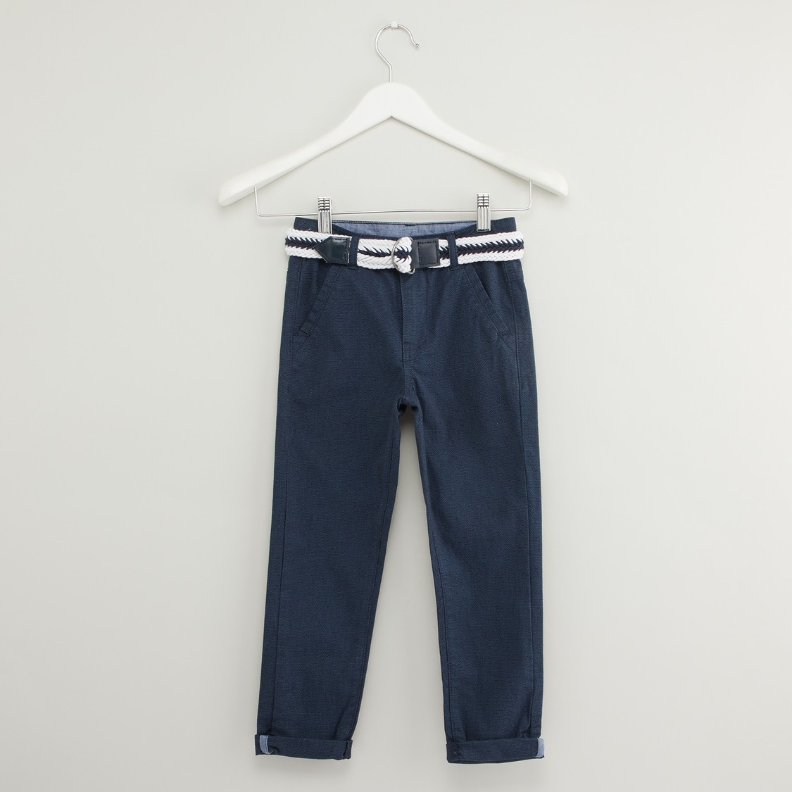 Textured Pants with Belt and Pocket Detail