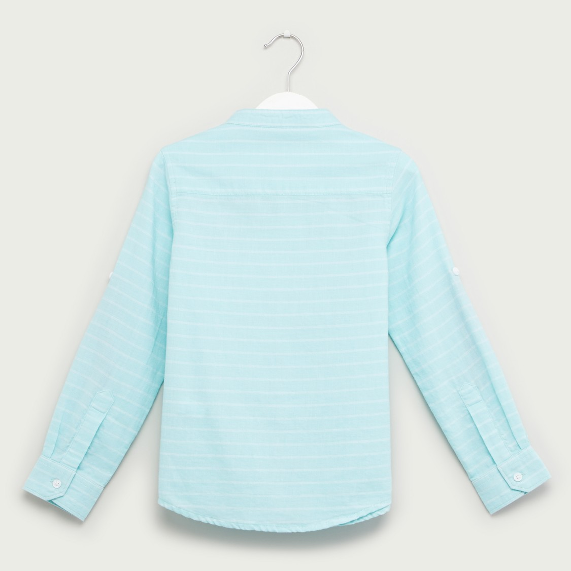Striped Top with Mandarin Collar and Long Sleeves
