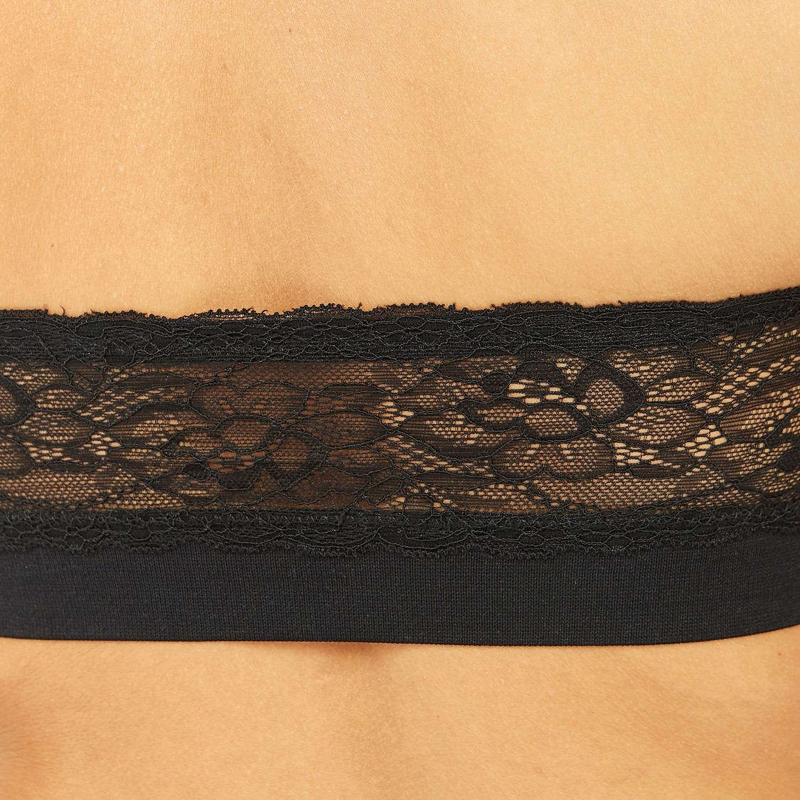 Textured Bandeau Bra with Lace Detail