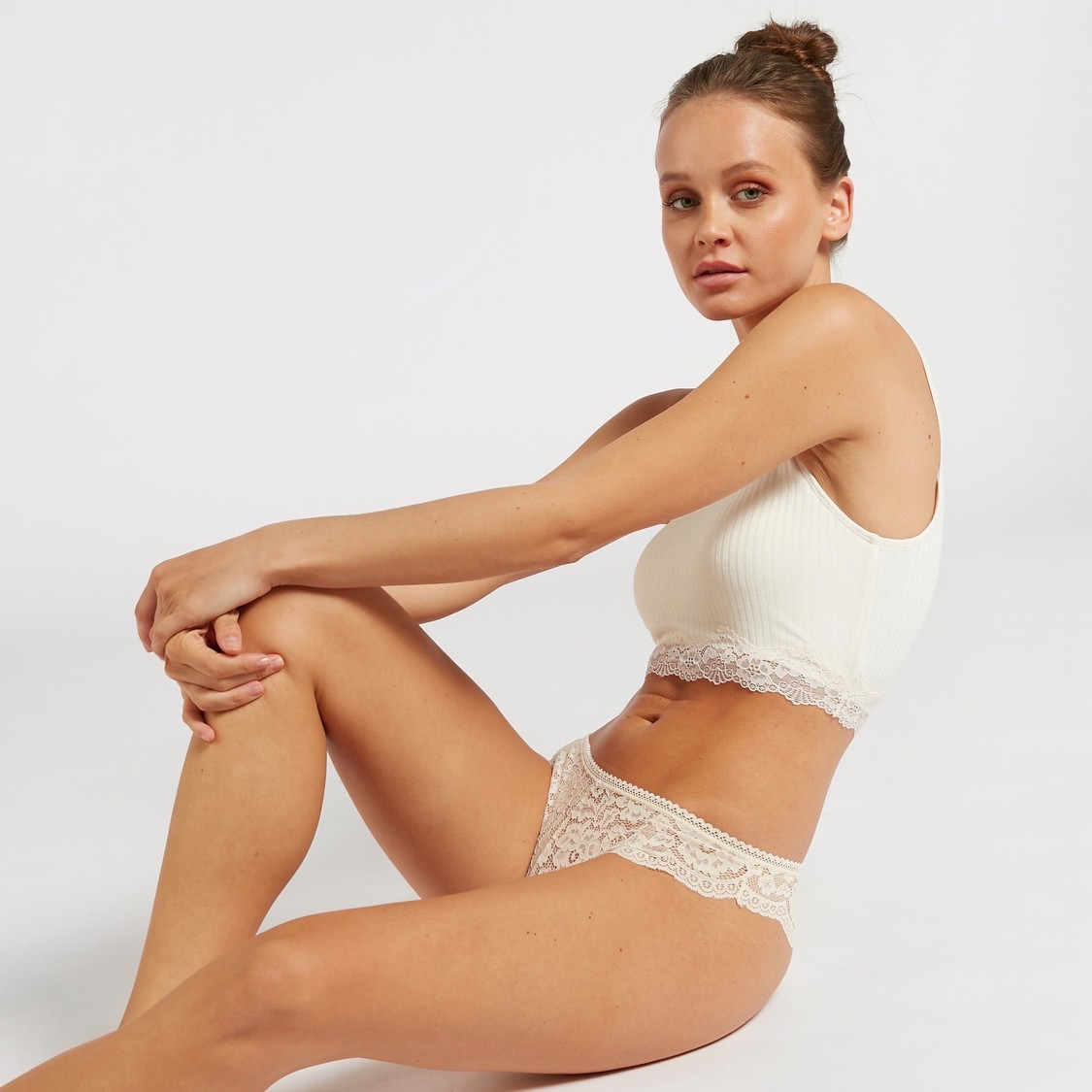 Set of 3 - Lace Detail Brazilian Brief with Elasticised Waistband