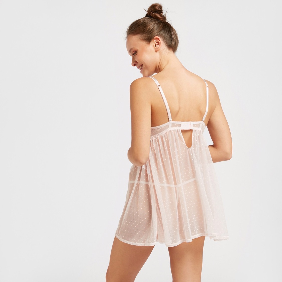 Lace Detail Babydoll Dress with Thongs