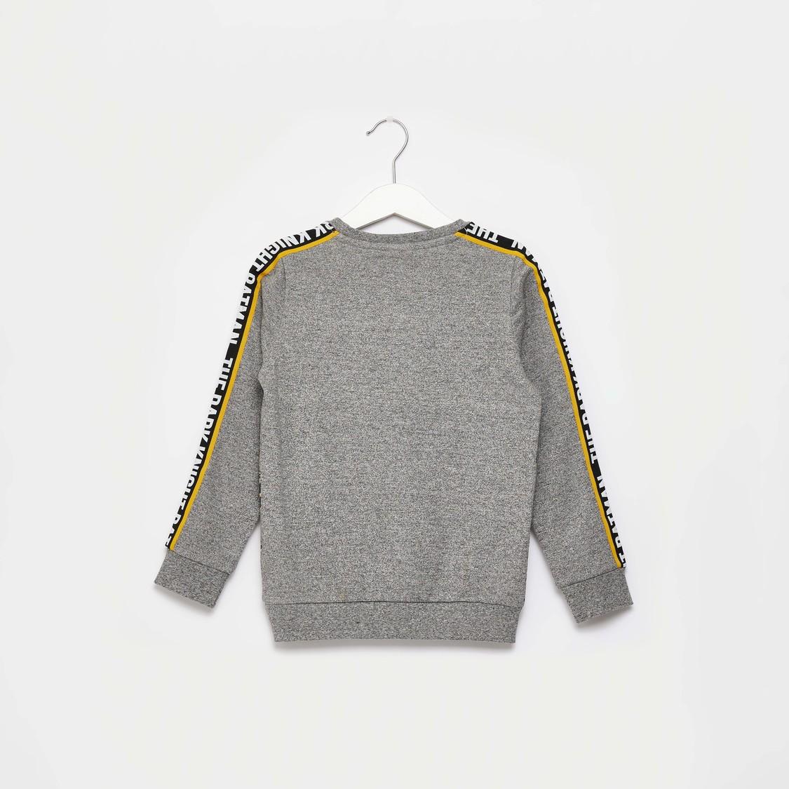 Batman Print Round Neck Sweatshirt with Long Sleeves