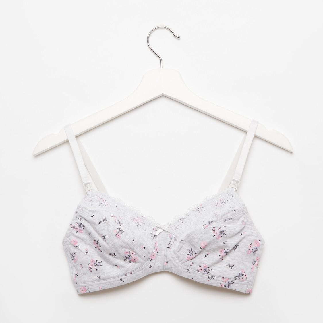 Floral Print Cotton Bra with Adjustable Shoulder Straps