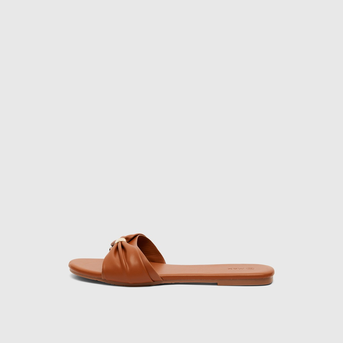 Slip-On Flat Sandals with Bow Accent
