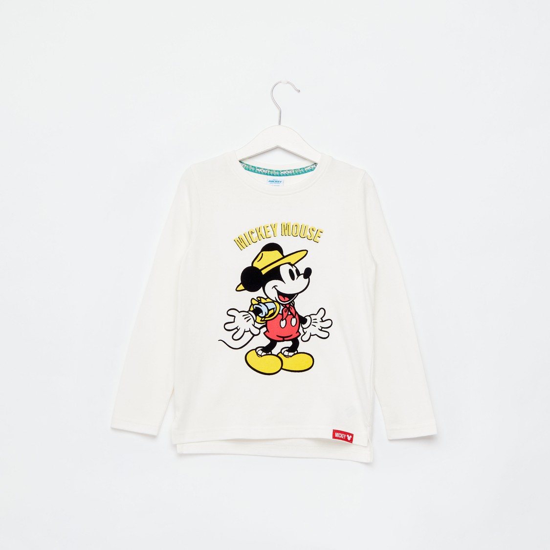 Mickey Mouse Print Round Neck T-shirt with Long Sleeves