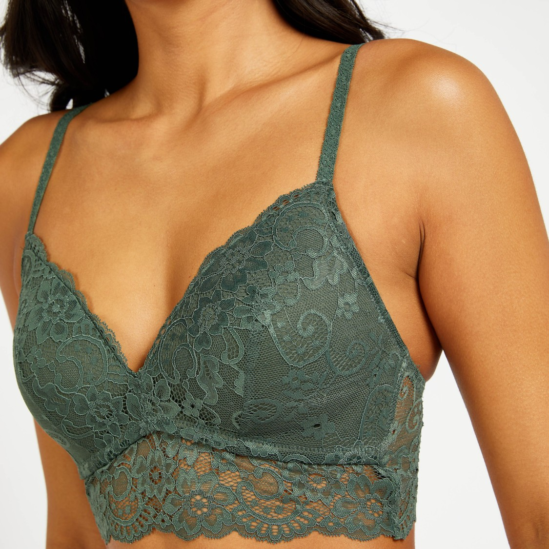 Lace Detail Padded A-Frame Bralette with Adjustable Straps