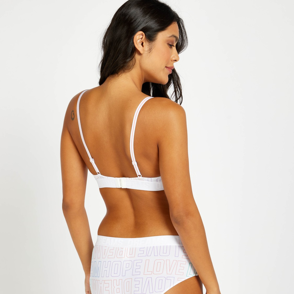 All-Over Text Print Padded Plunge Bra with Hook and Eye Closure