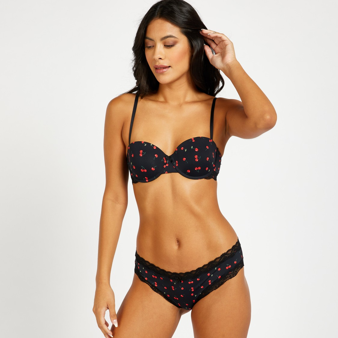 Cherry Print Brazilian Briefs with Lace Detail