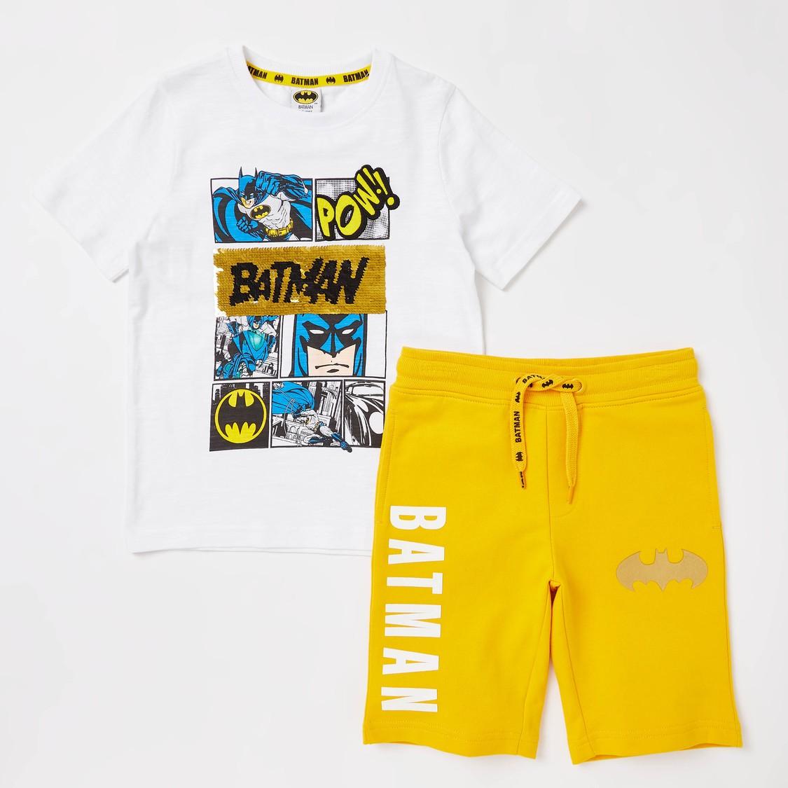 Batman Sequin Detail Short Sleeves T-shirt with Shorts
