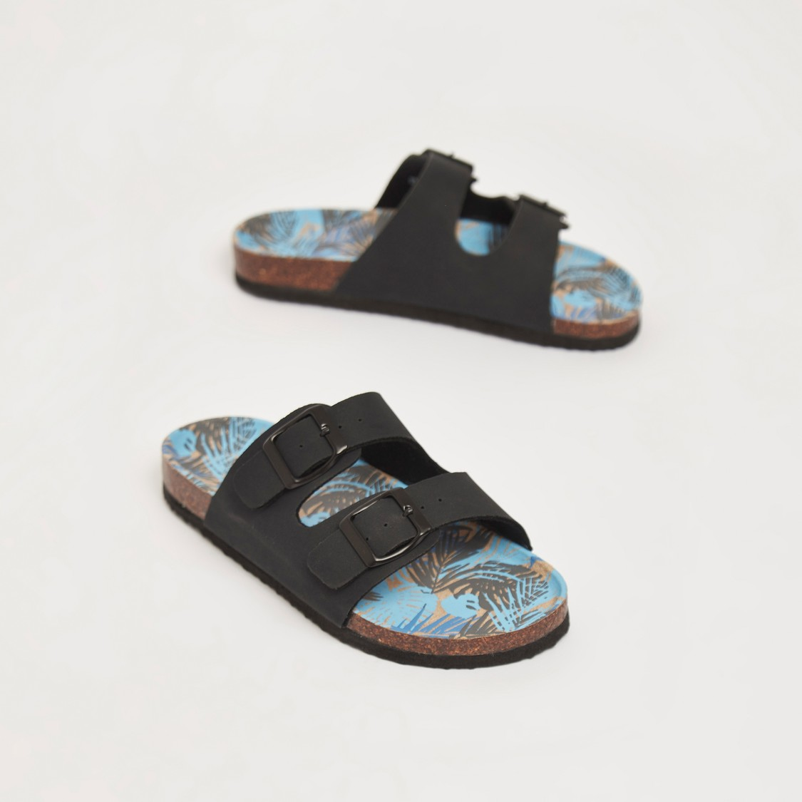 Printed Sandals with Textured Straps