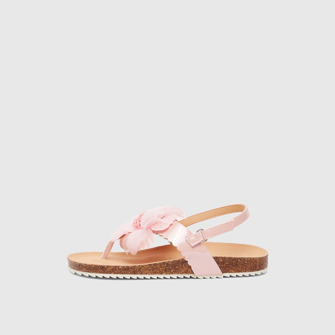 Floral Applique Detail Back Strap Sandals with Hook and Loop Closure