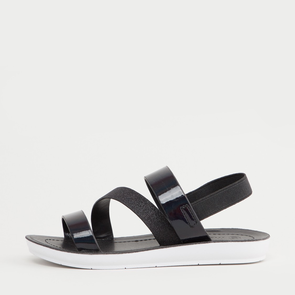 Strappy Flat Sandals with Elastic Closure