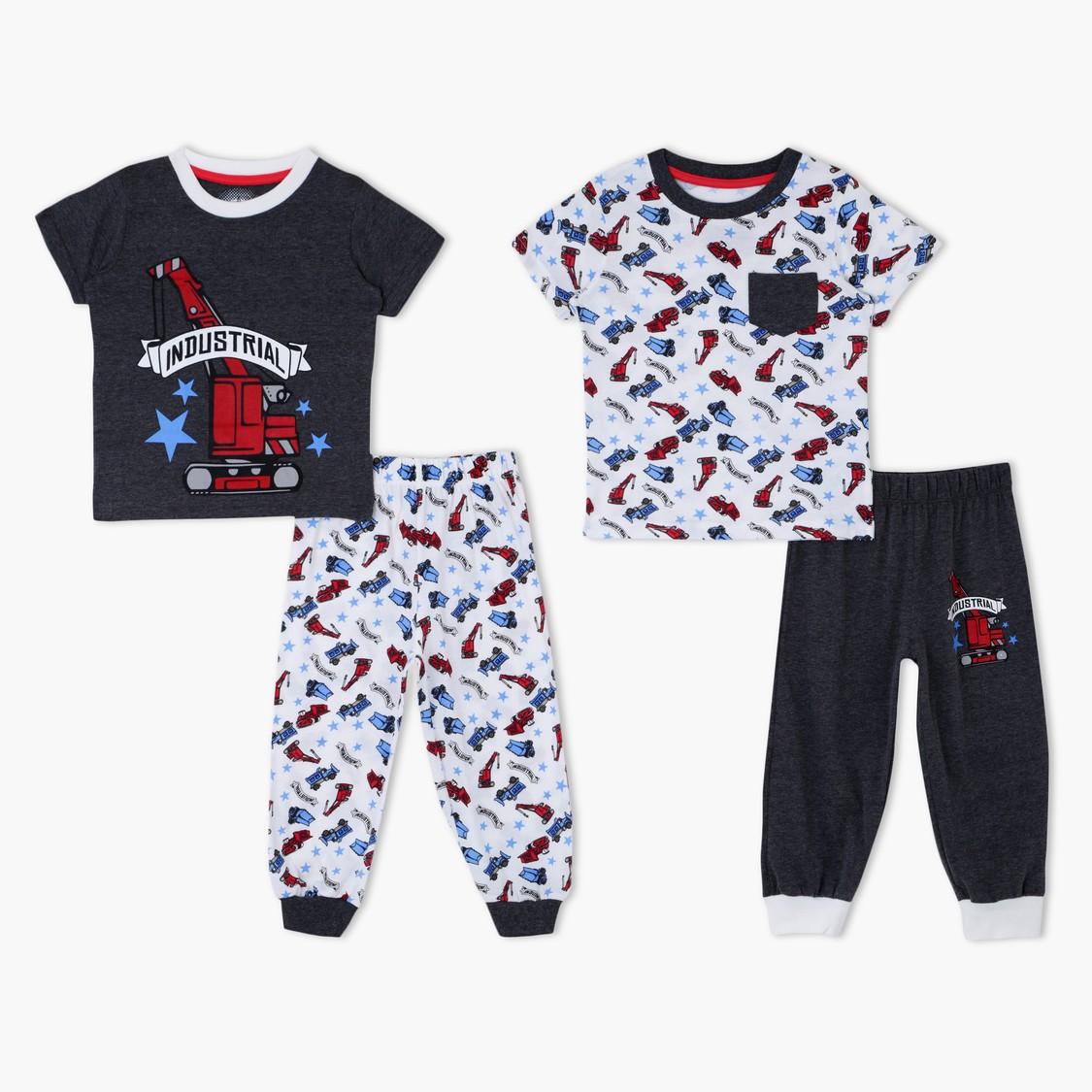 Printed Round Neck Pyjama - Set of 2