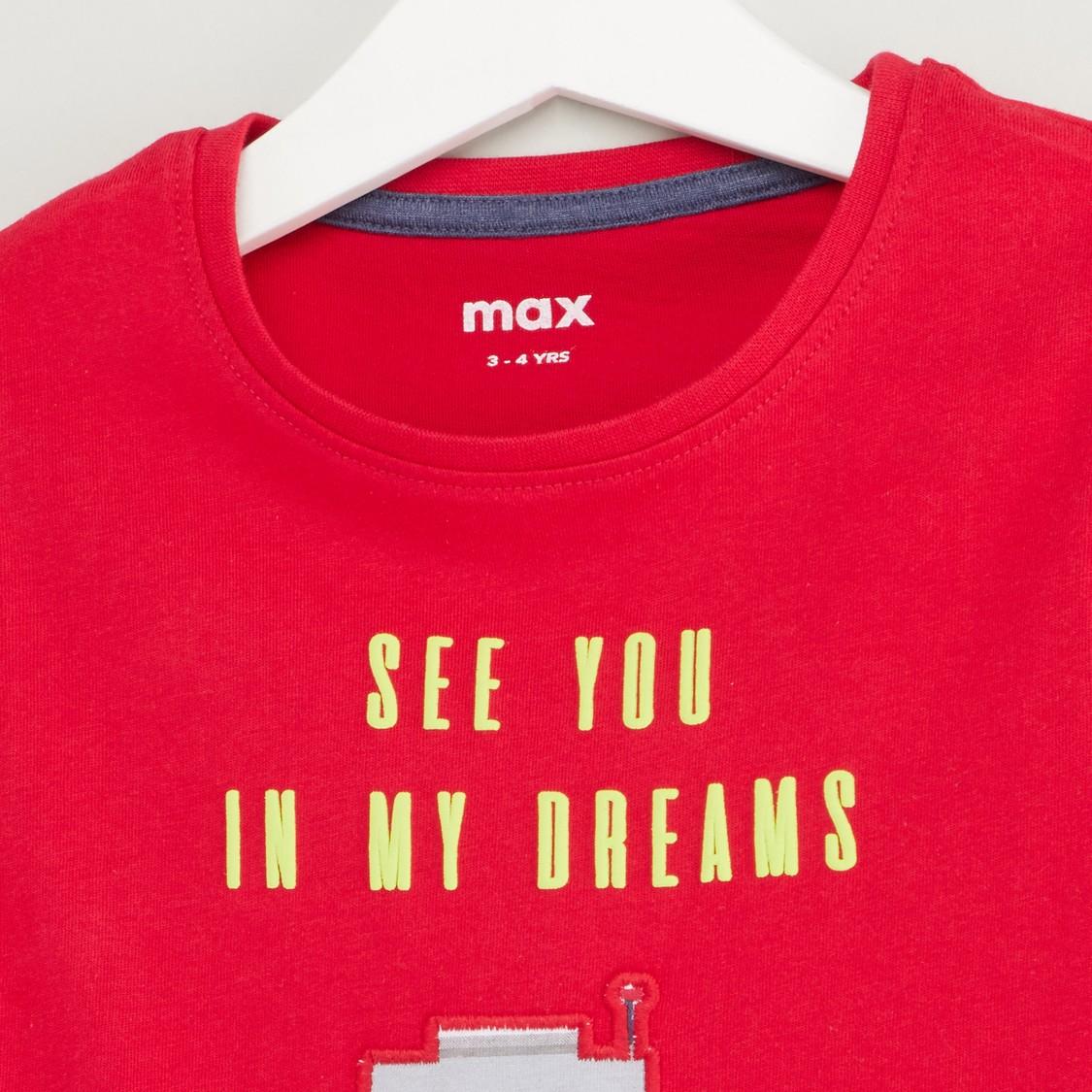 Robot Print T-shirt and Pyjama Set