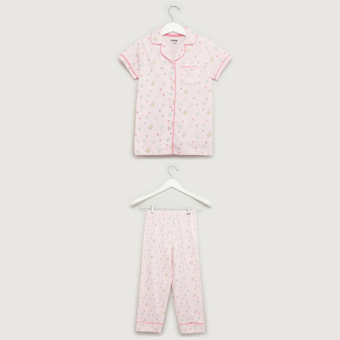 Printed Short Sleeves Sleepshirt with Pyjama Set