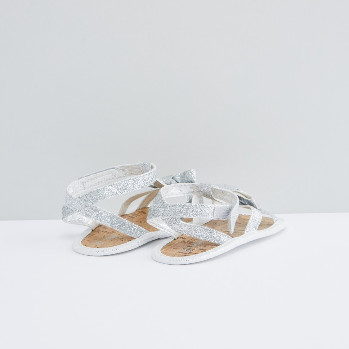 Glitter Sandals with Hook and Loop Strap