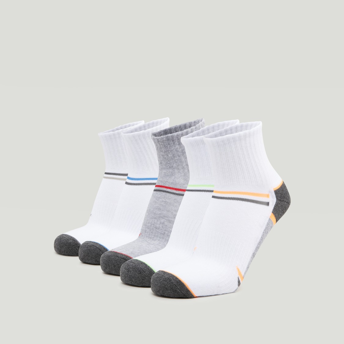 Set of 5 - Assorted Ankle Length Sports Socks with Cuffed Hem