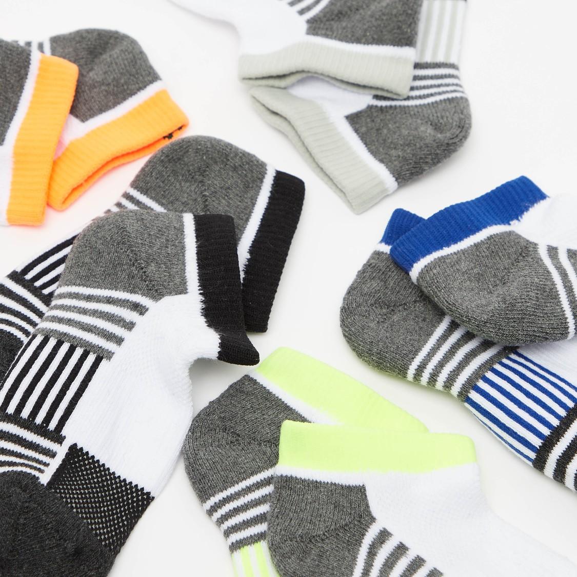 Set of 5 - Striped Ankle Length Socks with Elasticated Hem