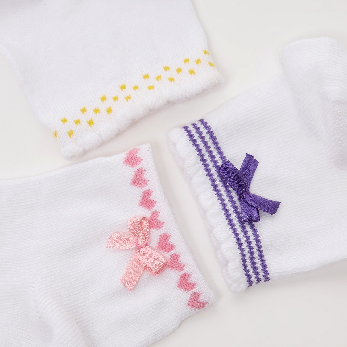 Set of 3 - Bow Applique Detail Ankle Length Socks