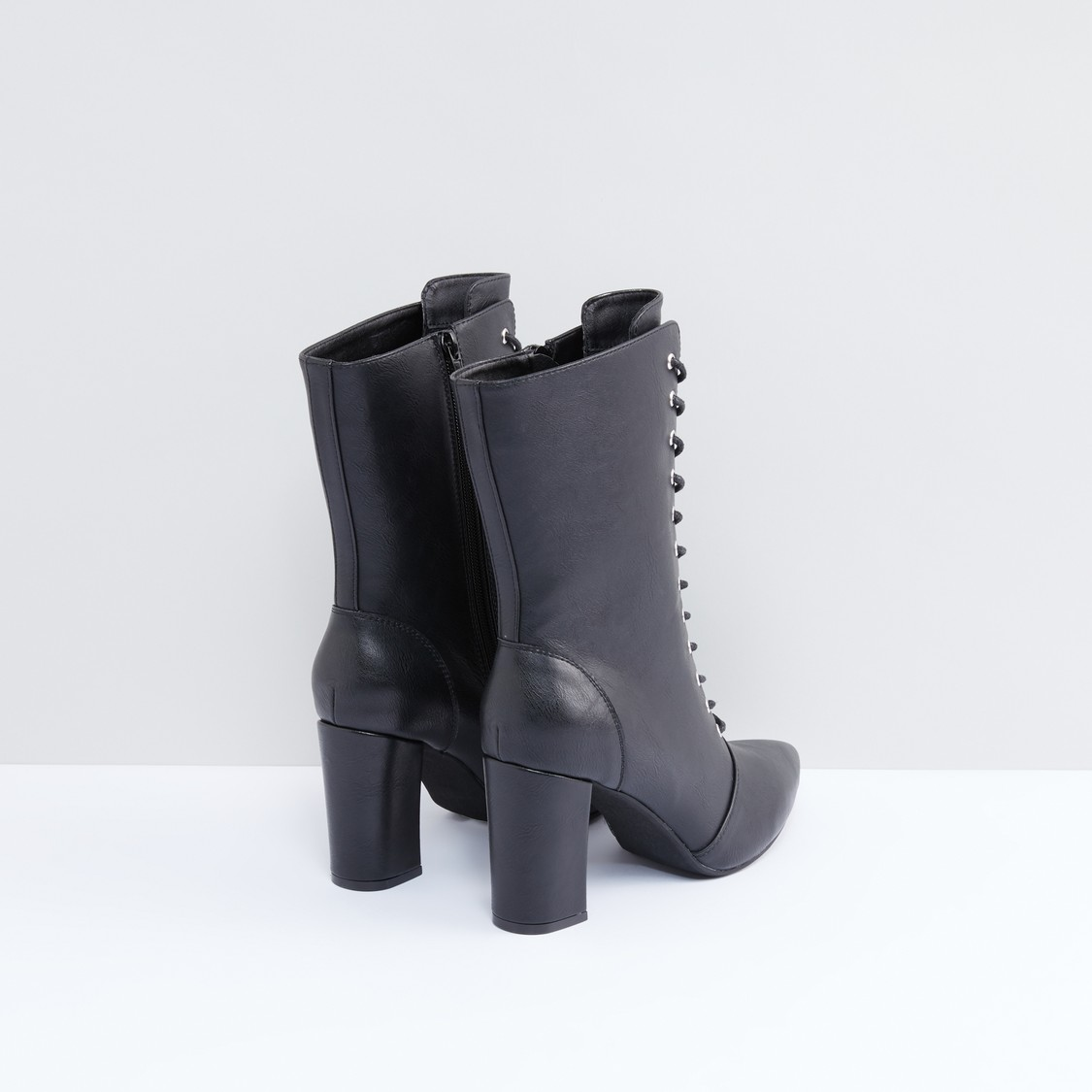 Lace-Up Detail Boots with Zip Closure
