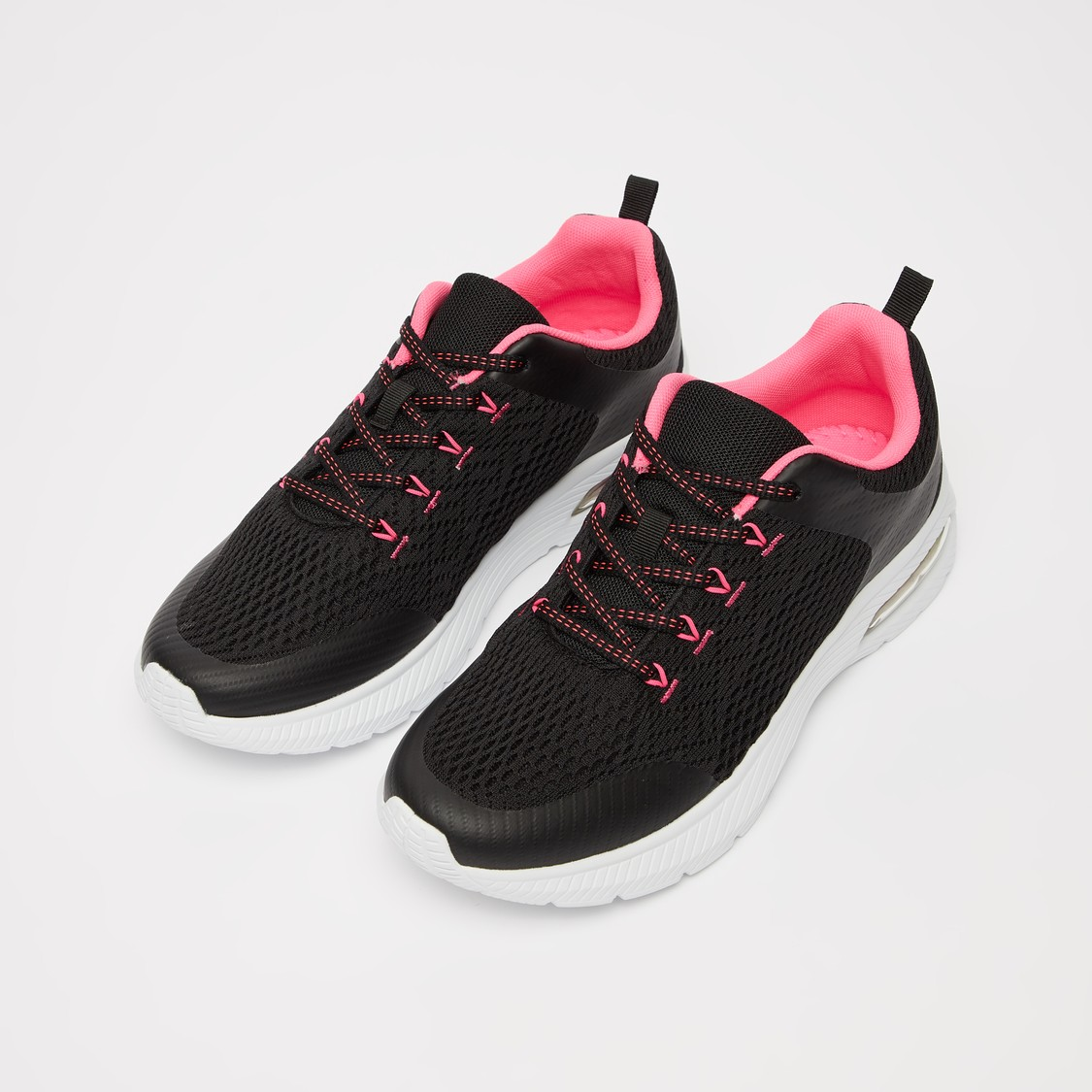Textured Lace-Up Running Shoes with Pull Tab Detail