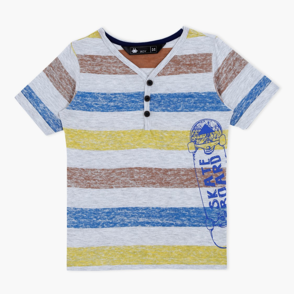 Striped Henley Neck Short Sleeves T-Shirt