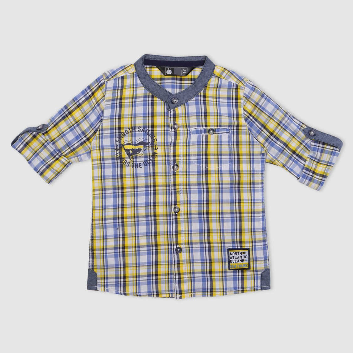 Chequered Roll Up Sleeves Shirt