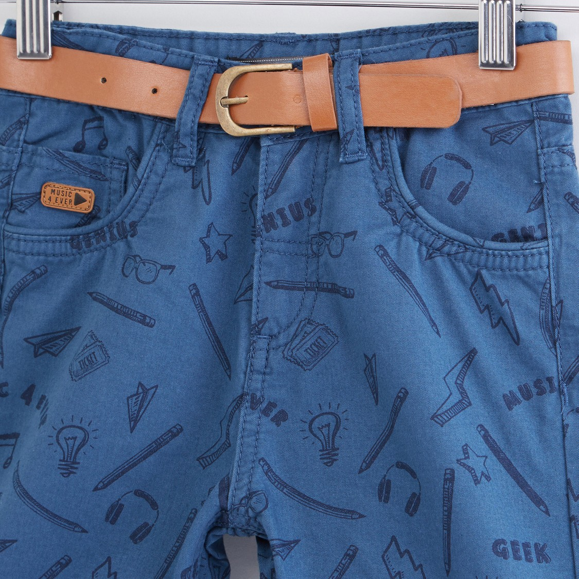 Printed Shorts with Belt and Pocket Detail