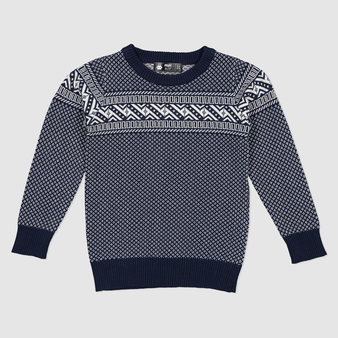 Textured Long Sleeves Sweater with Crew Neck
