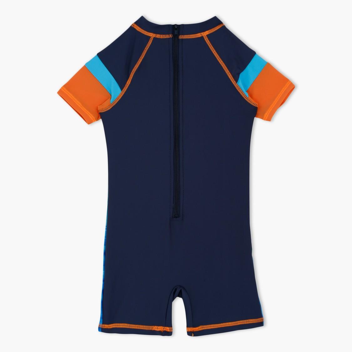 Printed Bodysuit with Short Sleeves