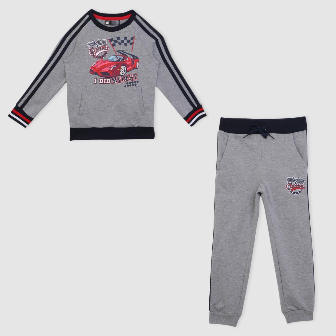 Printed Sweatshirt and Jog Pants Set