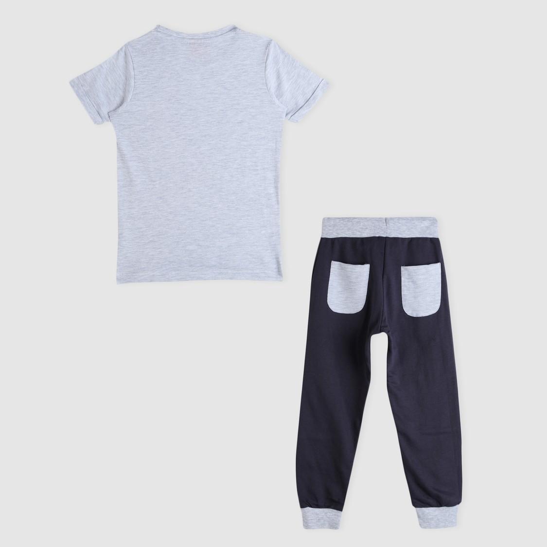 Transformers Print T-Shirt and Jog Pants Set