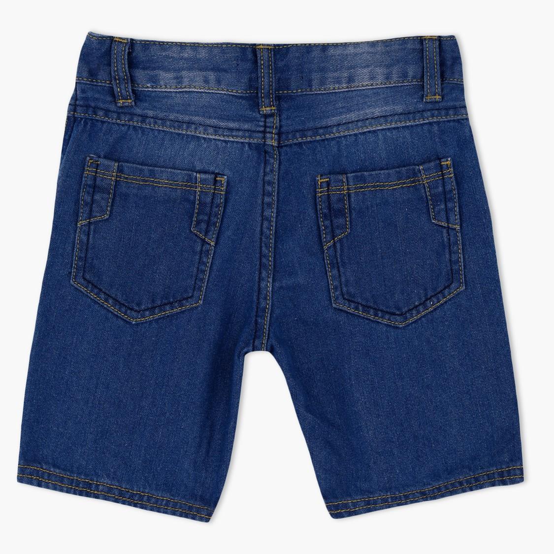 Denim Shorts with Contrasting Pocket