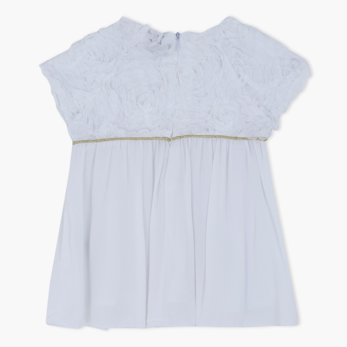 Woven Top with Lace Detailing and Piping