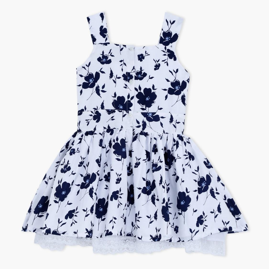 Floral Print Sleeveless Dress with Lace Hem