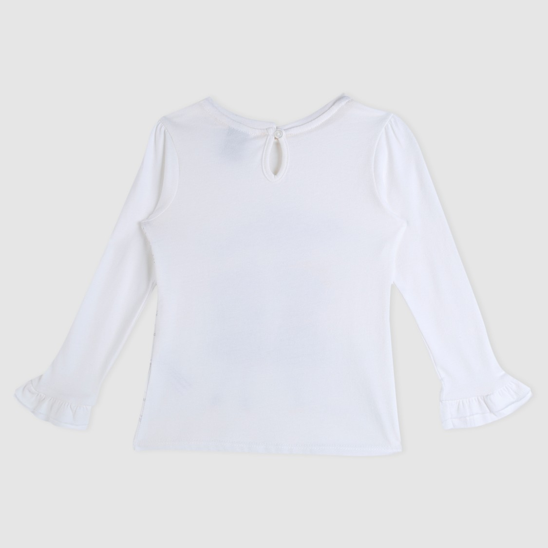 Long Sleeves Knit Top with Appliques and Ruffled Cuffs