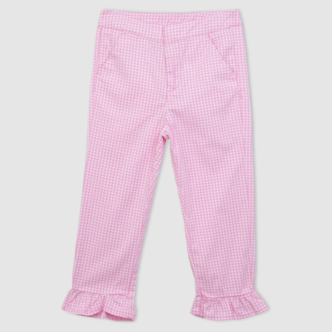 Chequered Capris with Frill Detail