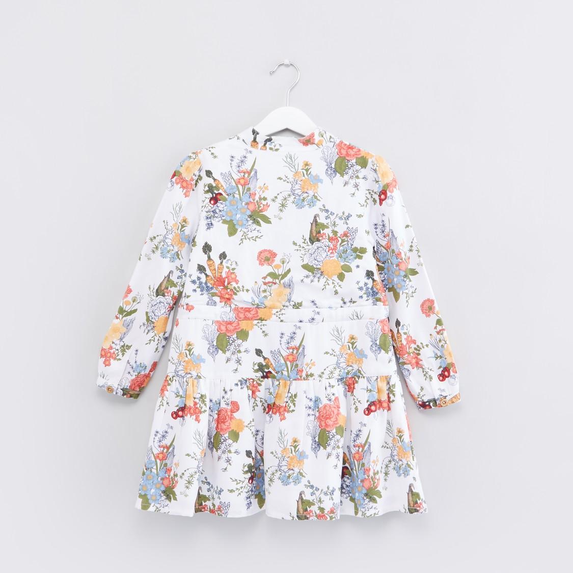 Floral Printed Long Sleeves Dress